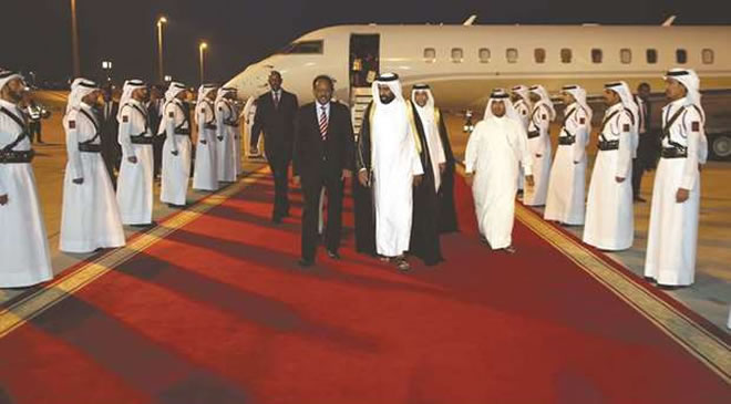Somalia president arrives in Doha